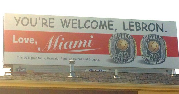 'You're Welcome, LeBron,' Reads Billboard Purchased by Miami Radio Host