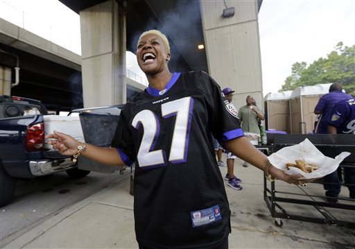 Ravens Fans, Men and Women, Wear No. 27 for Rice
