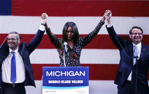 First Lady Stumps for Democrats in Michigan, Iowa
