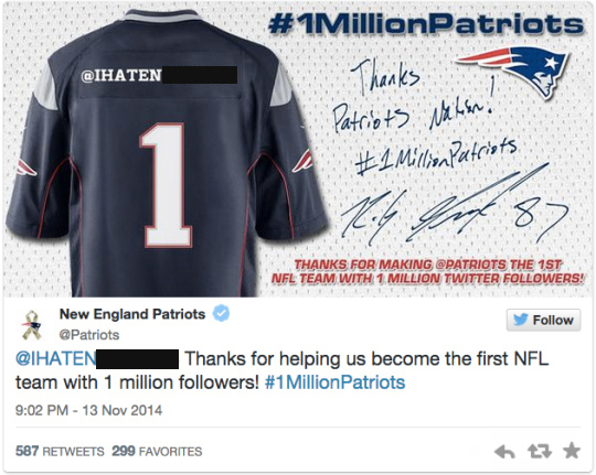 Patriots Apologize for Tweeting Racial Slur in Twitter Promotion