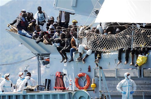 European Migrant Crisis: Italy Navy Rescues 50 from Dinghy
