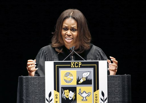 First Lady Notes Personal Struggles in Chicago Graduation