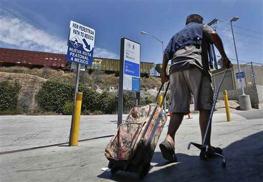 At Busy Crossing, Pedestrians Need Passport to Enter Mexico