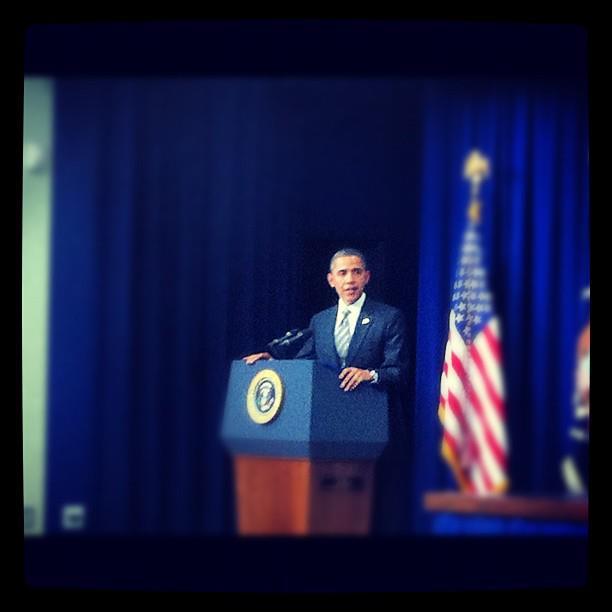 President Barack Obama speaking to the NNPA (Courtesy of Kyle Yeldell)