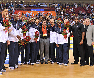 2008 USA National Basketball Team accepting their gold medals at the 2008 Summer Olympics in Beijing, China (Courtesy of USABasketball.com)