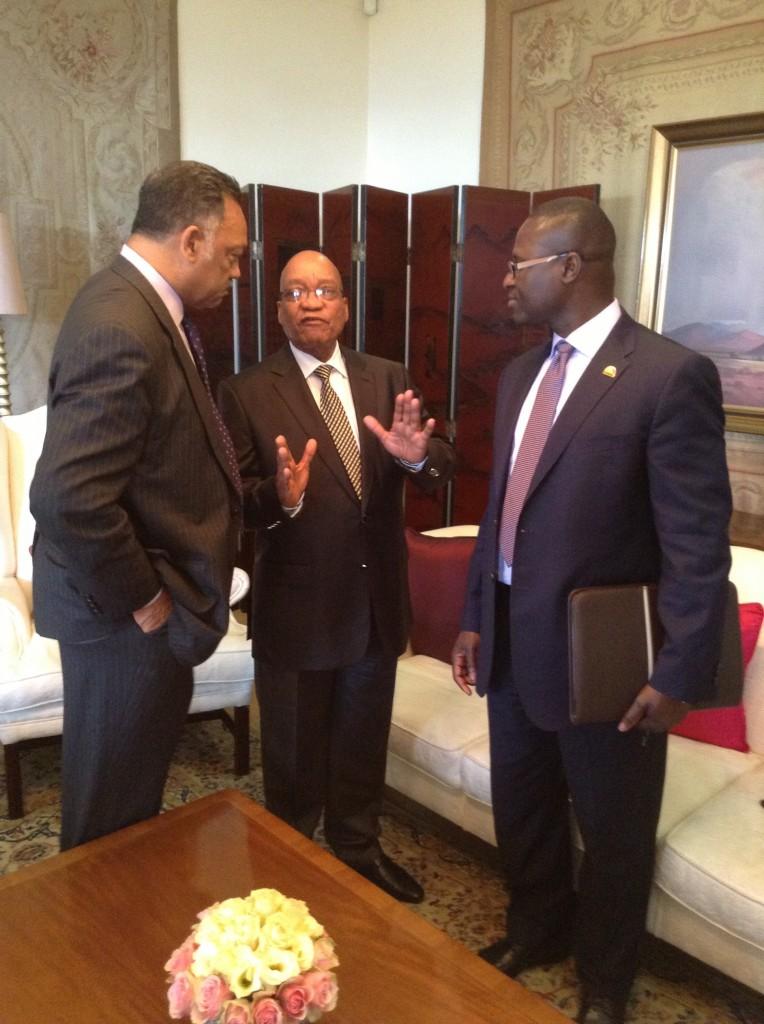 South Africa President Jacob Zuma (center) with Jesse Jackson (left) and businessman Eugene Jackson (NNPA Photo by George E. Curry)