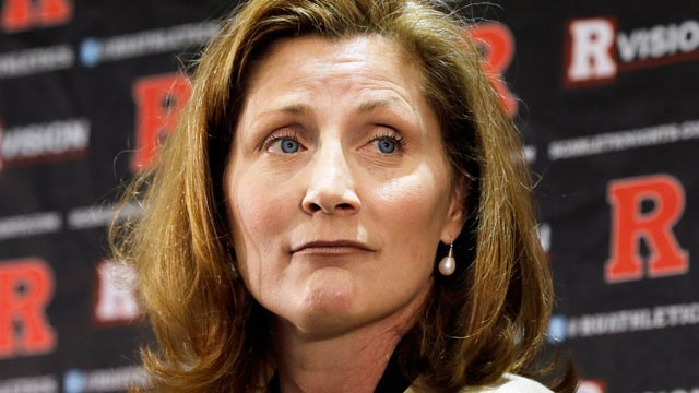 Julie Hermann listens during a news conference where she was introduced as the new athletic director at Rutgers University, May 15, 2013, in Piscataway, N.J. (Mel Evans/AP)