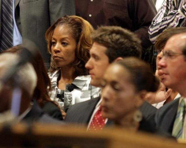 Carlita Kilpatrick, shown in court on Sep. 4, 2008, has lost her job in Texas and her lease on the family's 5,000-square-foot home in posh Grand Prairie, Texas. / Rashaun Rucker/Detroit Free Press