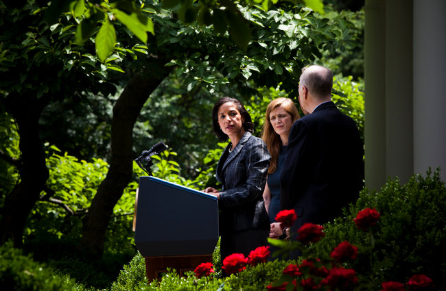 Susan E. Rice, left, seen in the White House Rose Garden in June, has been on the job as national security adviser for six weeks. (Christopher Gregory/The New York Times)
