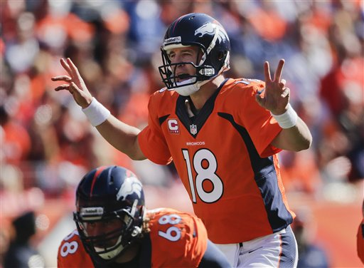 Denver Broncos quarterback Peyton Manning (18) calls an audible at the line of scrimmage against the Jacksonville Jaguars in the first quarter of an NFL football game, Sunday, Oct. 13, 2013, in Denver. (AP Photo/Jack Dempsey)