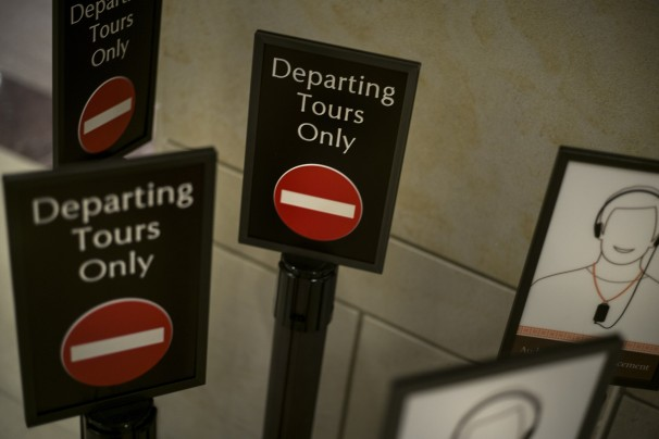 Stanchions used to guide tourists are seen stacked in a closed Capitol Visitors Center on October 2, 2013 in Washington, DC. AFP PHOTO / Brendan SMIALOWSKI