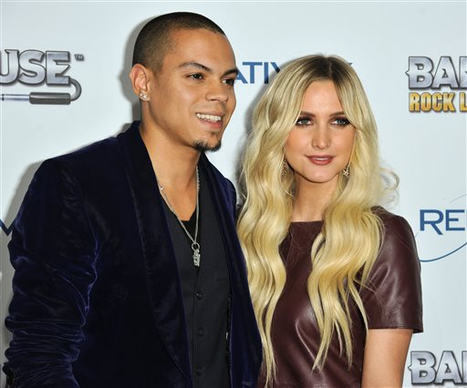 """This Nov. 12, 2013 file photo shows Evan Ross, left, and Ashlee Simpson at the """"Bandfuse: Rock Legends"""" video game launch in Los Angeles. Simpson is engaged to boyfriend Evan Ross, who is the son of Diana Ross. The pair announced the news on Twitter Monday, Jan. 13, 2014, confirmed Simpson's publicist Janet Ringwood. Simpson was previously married to Fall Out Boy bassist Pete Wentz. They have a five-year-old son named Bronx.  Ross is an actor who will appear in the final two installments of """"The Hunger Games."""" (Photo by Richard Shotwell/Invision/AP, File)"""