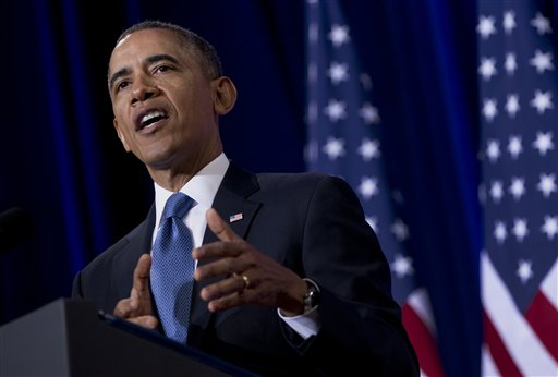 In this Jan. 17, 2014, file photo, President Barack Obama talks about National Security Agency surveillance in Washington. (AP Photo/Carolyn Kaster, File)