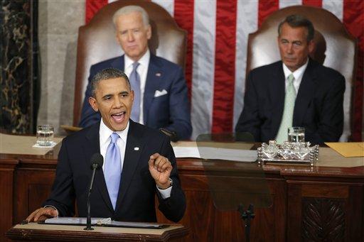 Vice President Joe Biden and House Speaker John Boehner of Ohio listen as President Barack Obama gives his State of the Union address on Capitol Hill in Washington, Tuesday Jan. 28, 2014. (AP Photo/Charles Dharapak)