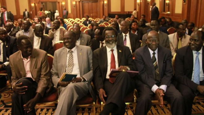 January 4, 2014: Unidentified delegates of the South Sudan Government sit in the front row at a press conference at the Sheraton Hotel in Addis Ababa, Ethiopia. (AP)