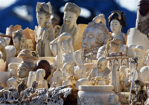 This Nov. 14, 2013 file photo shows confiscated decorative ivory piled together in preparation to be destroyed during an event at the National Wildlife Property Repository at Rocky Mountain Arsenal National Wildlife Refuge in Commerce City, Colo. (AP Photo/Brennan Linsley, File)