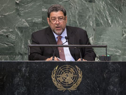 Saint Vincent and the Grenadines Prime Minister Ralph Gonsalves addresses the 67th United Nations General Assembly, at U.N. headquarters on Sept. 28, 2012. (Photo: John Minchillo, AP)