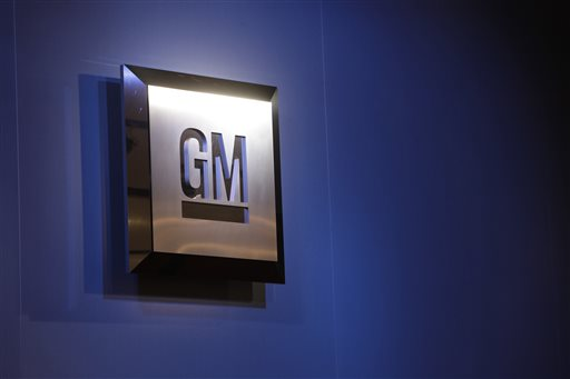 In this Jan. 12, 2009 file photo, the General Motors logo is on display at the North American International Auto Show in Detroit. (AP Photo/Paul Sancya, File)