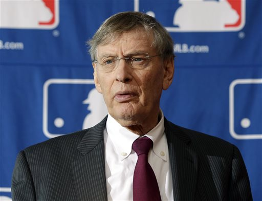 In this Aug. 15, 2013, file photo, Baseball Commissioner Bud Selig speaks during a news conference in Cooperstown, N.Y. (AP Photo/Mike Groll, File)