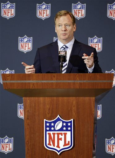 NFL Commissioner Roger Goodell answers questions during a news conference at the NFL football annual meeting in Orlando, Fla., Monday, March 24, 2014. (AP Photo/John Raoux)