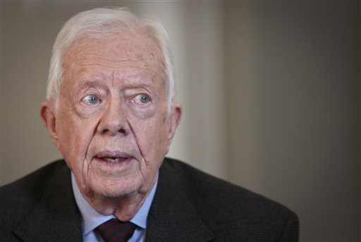 In this Monday, March 24, 2014, file photo, former U.S. President Jimmy Carter speaks during an interview, in New York. (AP Photo/Bebeto Matthews, File)