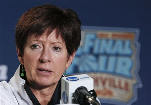 Notre Dame head coach Muffet McGraw answers questions during a news conference at the NCAA women's Final Four college basketball tournament Monday, April 7, 2014, in Nashville, Tenn. Notre Dame is scheduled to face Connecticut in the championship game Tuesday. (AP Photo/John Bazemore)