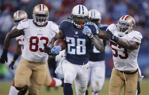 In this Oct. 20, 2013, file photo, Tennessee Titans running back Chris Johnson (28) runs ahead of San Francisco 49ers defenders Demarcus Dobbs (83) and NaVorro Bowman (53) on a touchdown reception in an NFL football game in Nashville, Tenn. (AP Photo/Wade Payne, File)