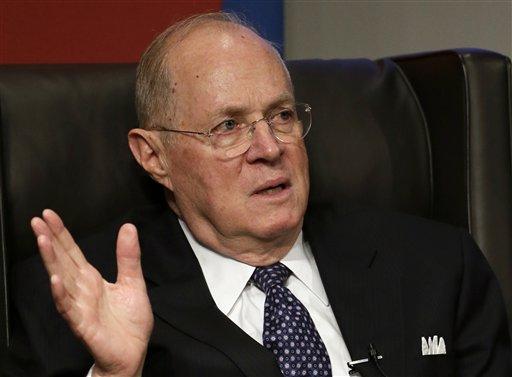 This Oct. 13, 2013 file photo shows Supreme Court Justice Anthony Kennedy speaking at the University of Pennsylvania law school in Philadelphia. The Supreme Court on Tuesday upheld Michigan's ban on using race as a factor in college admissions. Kennedy said voters chose to eliminate racial preferences because they deemed them unwise. (AP Photo/Matt Slocum, File)