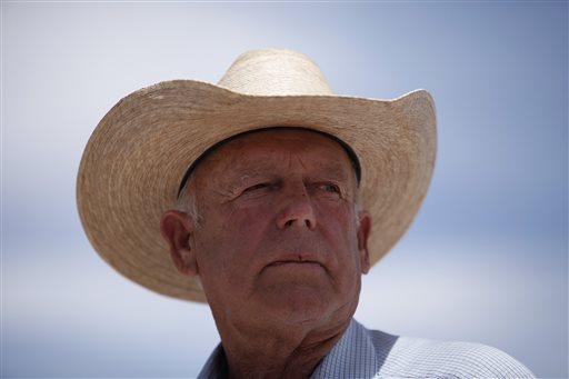 Rancher Cliven Bundy speaks at a protest area near Bunkerville, Nev. Wednesday, April 16, 2014. (AP Photo/Las Vegas Review-Journal, John Locher)