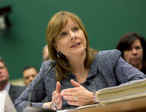 General Motors CEO Mary Barra testifies on Capitol Hill in Washington, Tuesday, April 1, 2014, before the House Energy and Commerce subcommittee on Oversight and Investigation. (AP Photo/Evan Vucci)