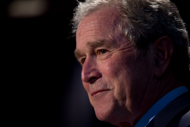 AUSTIN -- APRIL 10: Former president Bush speaks at the Civil Rights Summit at the Presidential LBJ Library. (Photo by David Hume Kennerly)