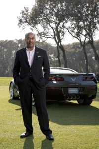 General Motors Global Vice President Design Ed Welburn with the all-new 2014 Corvette Stingray at the 2013 Amelia Island Concours Friday, March 8, 2013 on Amelia Island, Florida. (Photo by Paul Figura for Chevrolet)