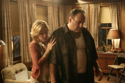 """In this file photo, originally released by HBO in 2007, Edie Falco portrays Carmela Soprano and James Gandolfini is Tony Soprano in a scene from one of the last episodes of the hit HBO dramatic series """"The Sopranos."""" Amazon is teaming up with HBO, the first such streaming arrangement agreed to by the cable network, in a deal that will make available to Amazon Prime members some classic TV like """"The Sopranos"""" and """"The Wire."""" (AP Photo/HBO, Craig Blankenhorn, File)"""