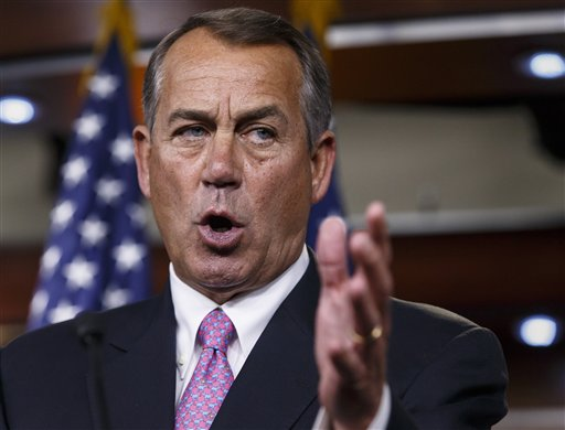 This March 26, 2014 file photo shows House Speaker John Boehner of Ohio speaking during a news conference on Capitol Hill in Washington. (AP Photo/J. Scott Applewhite, File)