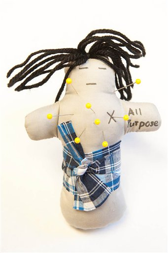 This undated handout photo provided by Ohio State University shows an all purpose voodoo doll. (AP Photo/Jo McCulty, Ohio State University)