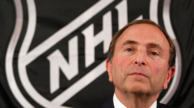 NHL commissioner Gary Bettman listens as he meets with reporters after a meeting with team owners, Thursday, Sept. 13, 2012 in New York. (AP Photo/Mary Altaffer)