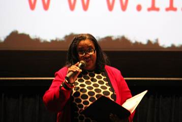 """Wells Fargo senior vice president, Georgette """"Gigi"""" Dixon provided remarks during the launch of Wells Fargo and First Generation Films Go College! initiative in Los Angeles"""