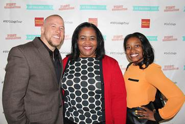 """From left to right Manifest Your Destiny Foundation executive director, Akello Stone, Wells Fargo senior vice president, Georgette """"Gigi"""" Dixon and Manifest Your Destiny Foundation assistant director, Ericka McCall attended the kick-off event for Wells Fargo and First Generation Films Go College! initiative in Los Angeles"""