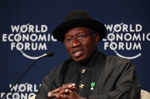 Nigeria President, Goodluck Jonathan, speaks during the World economic forum on Africa in Abuja, Nigeria, Thursday, May 8, 2014. (AP Photo/Sunday Alamba)