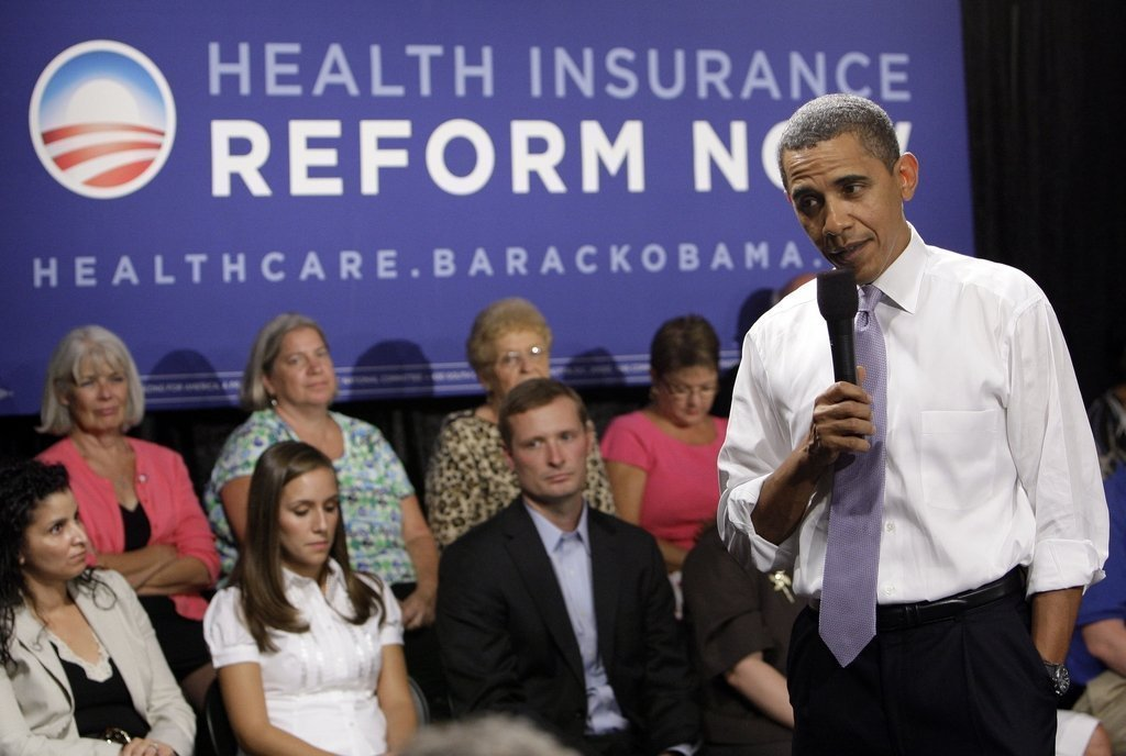 President Barack Obama speaks during the Organizing for America National Health Care Forum at the Democratic National Committee headquarters in Washington on Thursday, Aug. 20, 2009. (AP Photo/Alex Brandon)