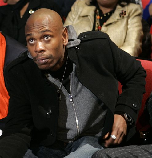 In this Monday, Jan. 21, 2008, file photo, comedian Dave Chappelle attends the Democratic presidential debate sponsored by CNN and the Congressional Black Caucus Institute, in Myrtle Beach, S.C. (AP Photo/Charles Rex Arbogast, File)