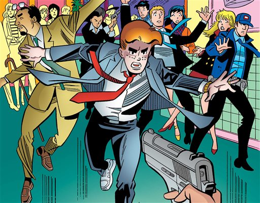 """This image provided by Archie Comics shows Archie in his final moments of life in the comic book, """"Life with Archie,"""" issue 37. Archie Andrews will die taking a bullet for his gay best friend. The famous freckle-faced comic book icon will die in the July 16, 2014 installment of """"Life with Archie"""" while intervening in the assassination of Kevin Keller, Archie Comics' first openly gay character. (AP Photo/Archie Comics)"""