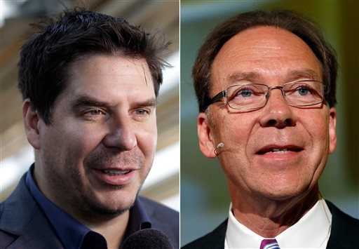 This combination made from file photos shows Brightstar CEO Marcelo Claure, left, and longtime Sprint CEO Dan Hesse. Sprint on Wednesday, Aug. 6, 2014 said it is replacing Hesse with Claure on the heels of a report that it is dropping its bid for rival wireless carrier T-Mobile. Sprint says the 43-year-old Claure will replace Hesse on Monday, Aug. 11, 2014. (AP Photo)