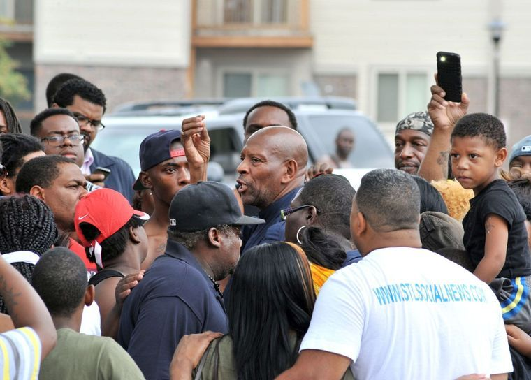 """Brother Anthony Shahid in the thick of the protests at """"ground zero"""" earlier this week. (Wiley Price/St. Louis American)"""