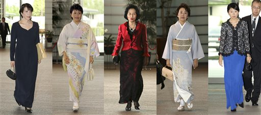 This combination of photos shows five women newly appointed for Japanese Prime Minister Shinzo Abe's Cabinet leaving the prime minister's official residence for the attestation ceremony at the Imperial Palace in Tokyo Wednesday, Sept. 3, 2014. Abe picked the five women for his Cabinet Wednesday, matching the past record and sending the strongest message yet about his determination to revive the economy by getting women on board as workers and leaders. They are from left: Internal Affairs Minister Sanae Takaichi, Minister in charge of Promoting Women Haruko Arimura, Justice Minister Midori Matsushima, Minister in charge of Japanese Abducted by North Korea Eriko Yamatani and Trade Minister Yuko Obuchi. (AP Photo/Eugene Hoshiko)