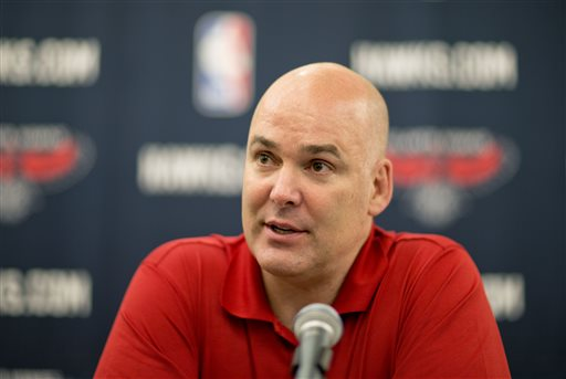 "In this July 10, 2013, file photo, Atlanta Hawks general manager Danny Ferry speaks at a press conference in Atlanta. Ferry has been disciplined by CEO Steve Koonin for making racially charged comments about Luol Deng when the team pursued the free agent this year. Ferry apologized Tuesday, Sept. 9, 2014,  for ""repeating comments that were gathered from numerous sources"" about Deng. (AP Photo/David Goldman, File)"