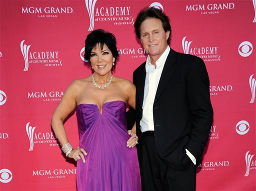 This April 5, 2009 file photo shows Kris Jenner, left, and her husband Bruce Jenner at the 44th Annual Academy of Country Music Awards in Las Vegas. Kris Jenner filed for divorce Monday, Sept. 22, 2014, in Los Angeles, from estranged husband, Bruce Jenner, citing irreconcilable differences. (AP Photo/Dan Steinberg, File)