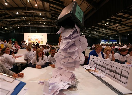 Ballot boxes are opened as counting begins in the Scottish Independence Referendum for the Aberdeenshire Council area, Aberdeen, Scotland, Thursday, Sept. 18, 2014. As the polls closed late Thursday and the vote counting began, many Scots settled in to stay up all night in homes and bars to watch the results. A nationwide count began immediately at 32 regional centers across Scotland. (AP Photo/Scott Heppell)