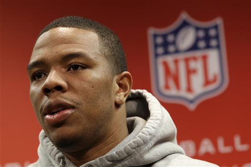 In this Jan. 16, 2013, file photo, Baltimore Ravens running back Ray Rice speaks during a news conference at the team's practice facility in Owings Mills, Md. At least four television networks say they plan to stop or minimize airings of video showing football player Rice striking his fiancee, footage that has called into question how the NFL disciplines players involved in domestic violence. The video from a casino elevator showing Janay Palmer crumbling to the floor after a punch has already been seen many times on TV since TMZ released it Monday, Sept. 8, 2014. (AP Photo/Patrick Semansky, File)