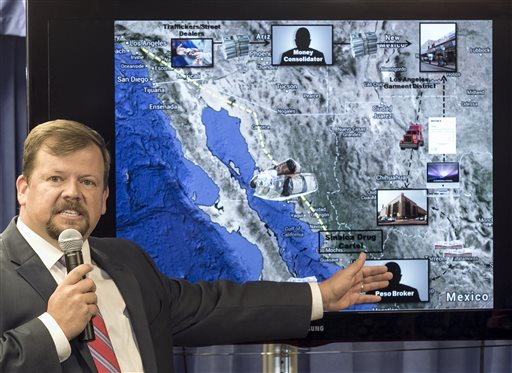 """Robert Dugdale, Assistant U.S. Attorney, Chief Criminal Division, explains the workings of the """"black market peso exchange,"""" scheme, also known as trade-based money laundering, as used by Mexico-based drug trafficking organizations to collect money from their United States drug sales, during a news conference in Los Angeles Wednesday, Sept. 10, 2014. Federal authorities arrested nine people and seized roughly $65 million U.S. dollars in a Wednesday crackdown on suspected drug money laundering in the fashion district of Los Angeles. (AP Photo/Damian Dovarganes)"""